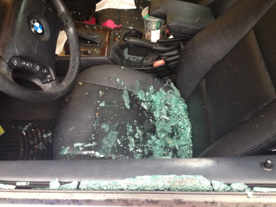 Shattered glass on seat