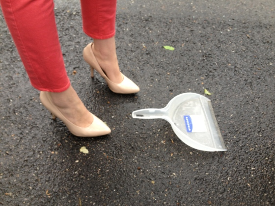 Heels and a dust pan