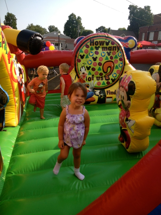 Ella in the Minnie Mouse Bouncy House