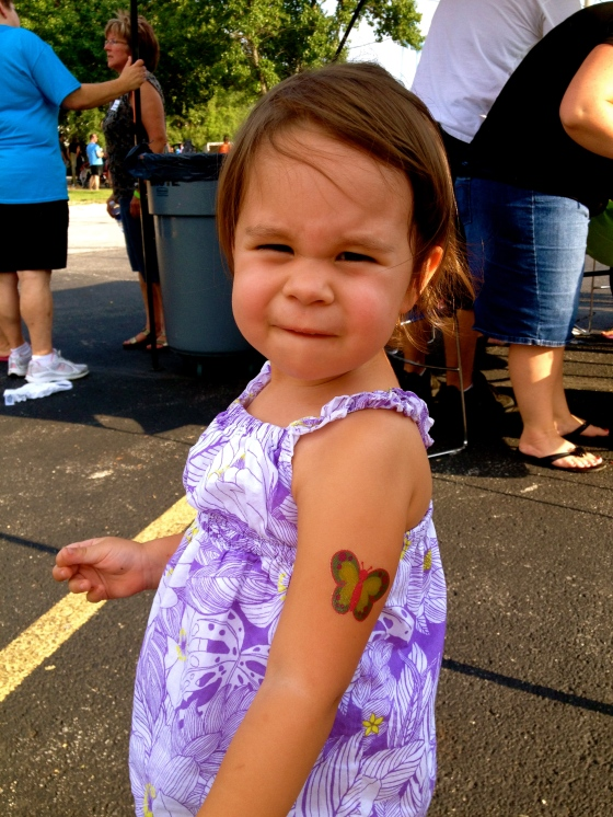 Ella and her butterfly tattoo
