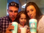 Patrick, Ella and LIbby with milkshakes
