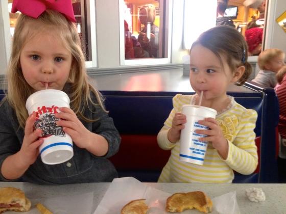 Ella and Leighton milkshakes at Fritz's