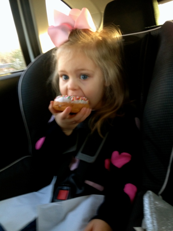 Leighton and her donut